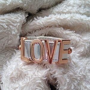 BCBGENERATION Silver and Rose Gold LOVE Bracelet
